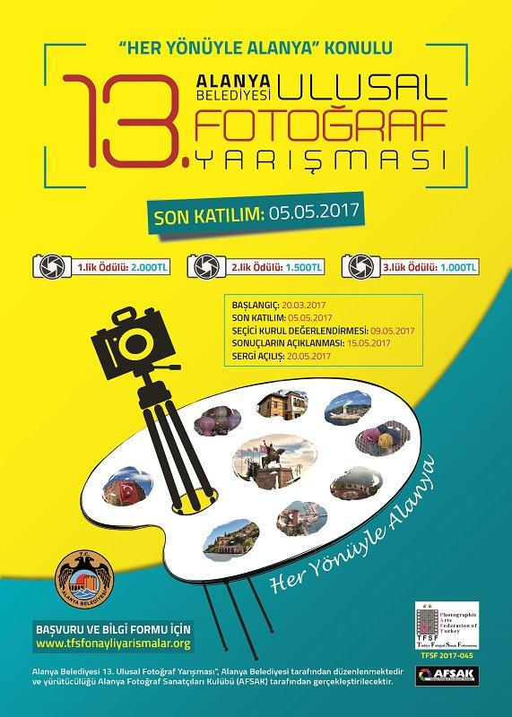 Alanya Belediyesi 13. Ulusal Fotoğraf Yarışması-Son Katılım Tarihi: 05.05.2017