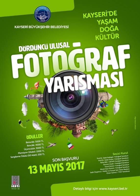 Toplam 23.000 TL Para Ödüllü - Kayseri Büyükşehir Belediyesi 4.Ulusal Fotoğraf Yarışması -Son Katılım Tarihi: 13.05.2017