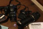 Canon 450D ile Canon 18-55 ve Tamron 18-270 Lens bir arada, çok az ve temiz kullanılmış