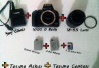 Canon 1000d Body + 18-55 Lens +2 adet batarya+şarj cihazı+çanta!