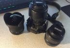 Nikon D3100 18-55mm, 55-200mm ve Opteka 6,5mm Fisheye Set