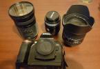 Nikon D70s temiz ve bakımlı aksesuarlarıyla birlikte