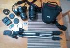 ACİL!!! Canon 500D + 2 Objektif + Hafıza Kartı + Tripot